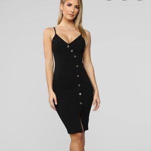 Fashion nova Black button detail dress
